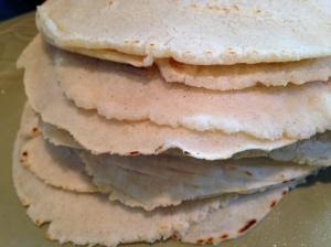 Stack of fresh tortillas